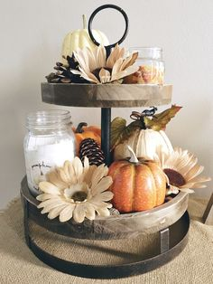 Fall Autumn Farmhouse Decor | Wood Tier Tray with Pumpkins and Candles | Sunflowers Pine Cones and Acorns