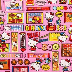 pink Hello Kitty oxford fabric sweets by Sanrio from Japan 1