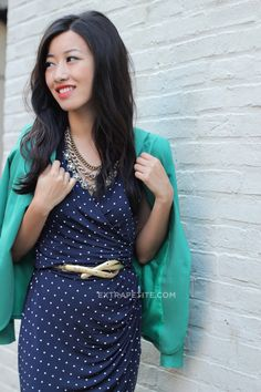 ExtraPetite.com - Vintage-inspired: Polka dots, navy bows   rustic gold
