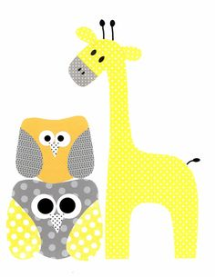Giraffe and Owl Nursery Artwork Print // Baby Room Decoration // Kids Room Decoration // Yellow and Grey Nursery // Gifts Under 20 on Etsy, $14.00