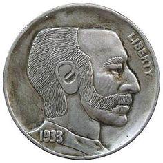 DAVE BOULAY HOBO NICKEL - 1933 BUFFALO PROFILE Hobo Nickel, Buffalo, Classic Style, Cactus, Coins, Auction, Carving, Profile, Art