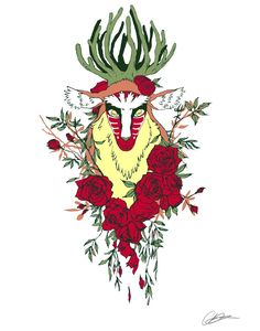 Forest Spirit by ~Sturzstrom...Possible tattoo design?  I love princess mononoke