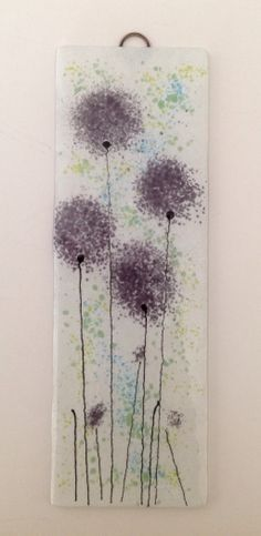 Purple fused glass flower panel #firedcreations email:info@firedcreations.co.uk
