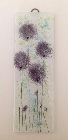 Purple fused glass flower panel #fusedglass #purpleflowers #glassart #firedcreations email:info@firedcreations.co.uk