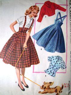 Vintage McCalls 3404 Suspender Pinafore Flared by FoxVintageUk