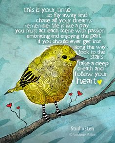 Fly Away and Chase all your dreams / original illustration ART Print Hand SIGNED size 8 x 10 via Etsy