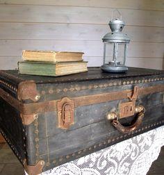 Black Suitcase Antique 1930s Hardcase Steamer Trunk  Home Decor Vintage Wedding Decor Photo Prop. $98.00, via Etsy.