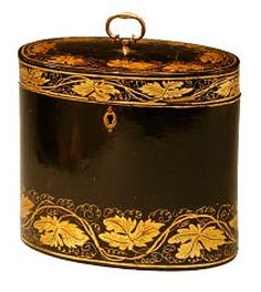 Antique Japanned Tea caddy, oval with gold leaf decoration.