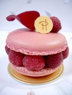 A raspberry macaroon by French pastry chef Pierre Hermé