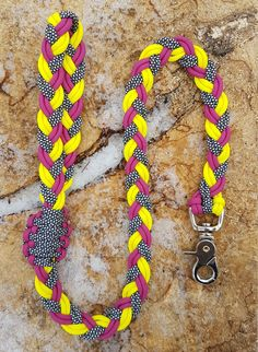 Paracord Dog Leash Flat Braided Rope Dog Lead - Raspberry, Yellow and Diamond White by BrodsParacord on Etsy
