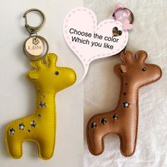 Giraffe keychain Animal leather keychain Giraffe key by Womensgirl