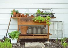 Turn an old work bench into  a potting bench