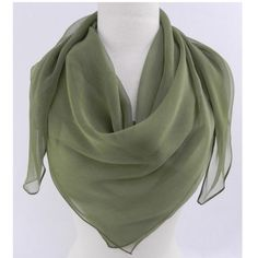 "Fabric Boutique - 774 N Pacific Hwy, Woodburn, Oregon - Olive sage, <p>Square silk scarf 40"" x 40""</p>"