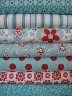 aqua & red fabrics
