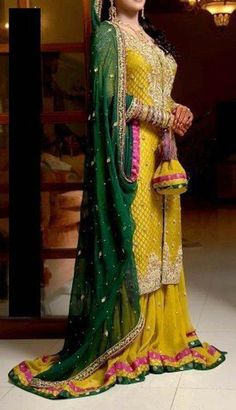 Yellow Bottle Green Bridal Mehndi Wear Sharara MC 02