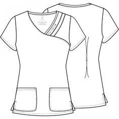 Crossover V-Neck Pin-Tuck Top Nursing Clothes, Nursing Dress, Sewing Clothes, Cherokee Uniforms, Lab Coats, Scrub Tops, Pin Tucks, V Neck Tops, Pattern Fashion
