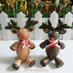 3D quilled reindeer for Christmas