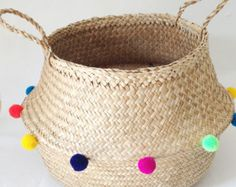 Dipped White Sea Grass Belly Basket Panier Boule by TalaHomeDesign