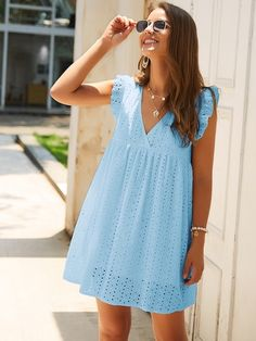To find out about the Eyelet Embroidery Ruffle Sleeve Smock Dress at SHEIN, part of our latest Dresses ready to shop online today! Eyelet Dress, Smock Dress, Babydoll Dress, Eyelet Lace, Casual Dresses For Women, Short Dresses, Summer Dresses, Clothes For Women, Dress Casual