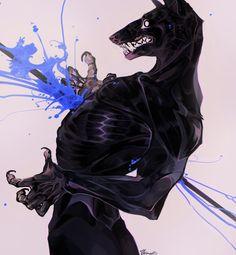 by Remarin on DeviantArt Creature Concept Art, Creature Design, Werewolf Art, Wow Art, The Villain, Horror Art, Character Design Inspiration, Furry Art, Mythical Creatures