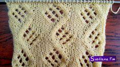 Узор Зигзаг с Ажурными ромбами. Вязание спицами # 72
