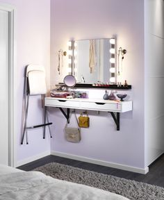 Re-think your space to furnish around your needs. Have a small bathroom? Create a makeup station into your bedroom! The ALEX shelves and MUSIK wall lamps from IKEA make a great morning makeover station.