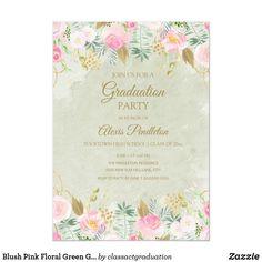 Shop Blush Pink Floral Green Gold Graduation Party Invitation created by classactgraduation. Graduation Party Invitations, Green Watercolor, Elegant Invitations, College Graduation, Green And Gold, Blush Pink, Light Rose, Graduation