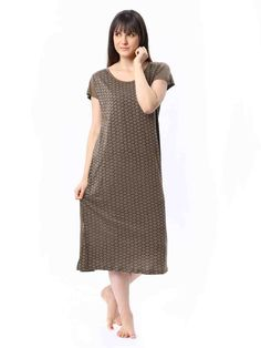 Knitted printed #nightdress, cap sleeves, contrast print, straight vented hem Order Now >>http://bit.ly/15XK3Sv