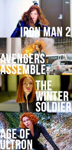Natasha Romanoff in all the different Avengers films