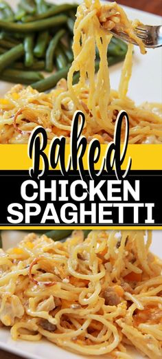 This BAKED CHICKEN SPAGHETTI is a hearty and delicious meal with a white mushroom-based sauce, so full of flavour thanks to the peppers, cheese and spices. Baked in the oven with a crispy topping. Huhn Spaghetti, Baked Spagetti, Baked Chicken Spaghetti, Spagetti Recipe, Baked Chicken Breast, Recipes With Spaghetti Noodles, Spaghetti Bake, Chicken Spaghetti Casserole, Spaghetti Dinner