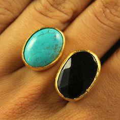 Double Turquoise & Onyx  Stone Ring #turquoise #onyx #black #fashion #teal #jewelry #women #ring