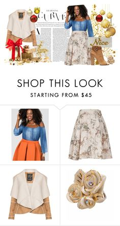 """""""Nicely Curved"""" by styleonapinch on Polyvore featuring Ashley Stewart, Melissa McCarthy Seven7, Mat, Hop Skip & Flutter, Edie Parker and plus size clothing"""