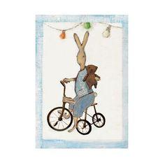 Kaart konijn op fiets - Maileg konijntje