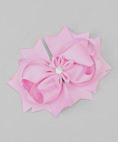 Loving this Ballet Pink Rhinestone Flower Hair Bow on #zulily! #zulilyfinds