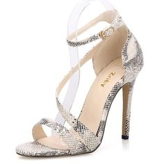 ZriEy Women's Ladies Strappy Thin High Heel Sandals Ankle Strap Cuff Peep Toe Shoes Sexy  Comfortable Elegant Beige Snake Pattern , 5 M US / 35 M EU Price:	$15.99 - $33.99  Sale:	Lower price available on select options Fit:  As expected (52%)
