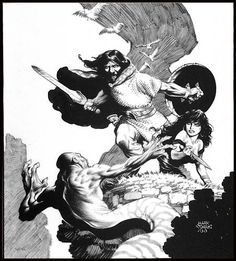 What is it with the snake people? They never beat Conan! Art by Mark Schultz.