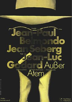 Michel (Jean-Paul Belmondo) is a young hoodlum who models himself after Humphrey Bogart. After stealing a car and gunning down a cop, he heads for Paris, where he meets Patricia (Jean Seberg), an American who. Jean Seberg, Eight Movie, French New Wave, Font Shop, Jean Luc Godard, Spiegel Online, Vintage Poster, Image Of The Day, Great Films