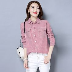 eddd066d807ad 2017 New Autumn Women Shirts Loose Full Sleeve Striped Slim Pure Cotton  Double Pocket Design Blouse Shirt Red Stripe 906  Blouse designs