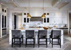Modern white and gold kitchen