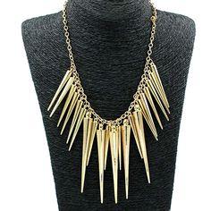 Hot Women's Multilayer Spike Rivet Tassels Chain Bib Statement Necklace Punk 6Y75 7F6X BEBM