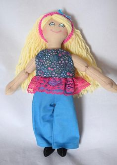 Girl Doll With Blond Hair - Kids Toys - Rag Doll - Handmade