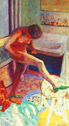Pierre Bonnard- Nude with green slipper, 1927  Art Experience NYC  www.artexperiencenyc.com