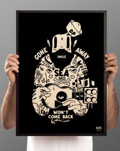 """Mcbess """"Captain"""" woodprint for The Dudes (limited to 150 pieces)"""