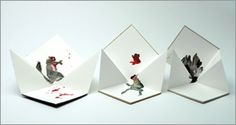 The frog, the pheasant and the squirrel. A sad, but beautiful ending, don't you think? Origami folded inkjet print with hand colouring, between boards with silver foil lettering.