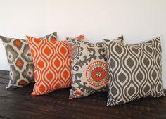 Throw pillow covers 20 x 20 Set Of Four orange gray beige ikat batik cushion cover pillow sham. $78.00, via Etsy.