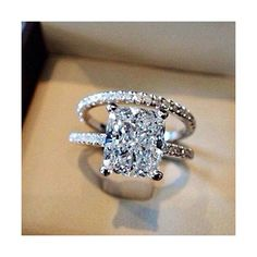 Ladies Sterling Silver Ring Set 2pc Rectangle Cz Wedding Engagement... (48 CAD) ❤ liked on Polyvore featuring jewelry, rings, wedding charms, sterling silver cubic zirconia rings, wedding set ring, sterling silver cz rings and wedding bridal jewelry