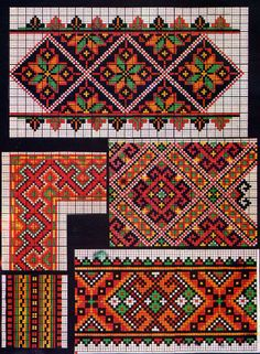 Folk Embroidery Ukraine, from Iryna ( Lots and LOTS of superb Ukrainian embroidery on this board! Hungarian Embroidery, Folk Embroidery, Cross Stitch Embroidery, Embroidery Patterns, Cross Stitch Borders, Cross Stitch Designs, Cross Stitching, Cross Stitch Patterns, Tapestry Crochet