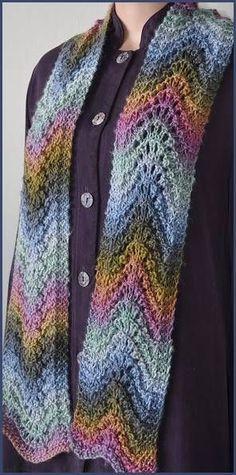 Mochi Plus Feather-Fan Stitch Scarf - Crystal Palace Yarns - free knit scarf…