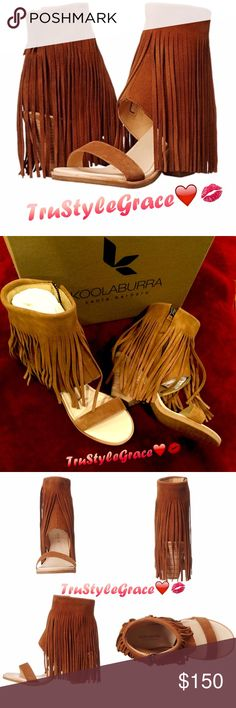 "BNIB - Koolaburra Fringe Suede Open-Toe Bootie - 7 Brand New With Box, Never Worn ✨Koolaburra Piaz II Fringe Open-Toe Bootie/Sandal ✨Color: Chestnut ✨Size: 7✨100% Leather (Suede Feel) ✨Heel: Approx. 3"" ✨Shaft: Approx. 6.5"" From Arch ✨Side-Zip Closure ✨Boot-Cuff Sandal With Floor Length Fringe ✨Super Sexy, Fun & Flirty ✨Expect Compliments Whenever You Wear Them! I Sooo Love Mine!! ❤ ✨️No Trades ✨Thanks for sharing 😘 Koolaburra Shoes Ankle Boots & Booties"