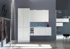 Arcom W&D lavanderia con lavabo in Mineralguss, l.201 p.51/63 cm in bianco opaco